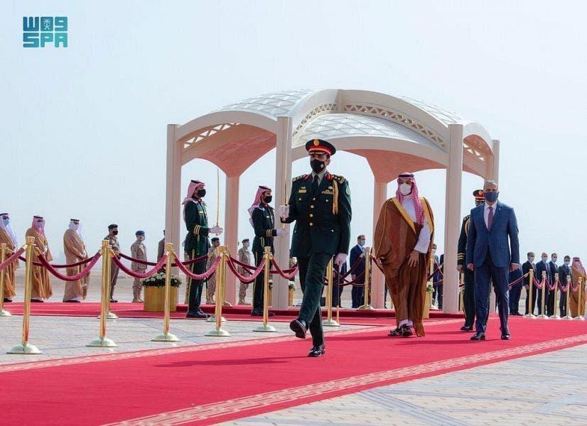 Saudi Crown Prince Mohammed bin Salman and Iraq's PM Mustafa al-Kadhimi in Riyadh, March 31, 2021. (SPA)