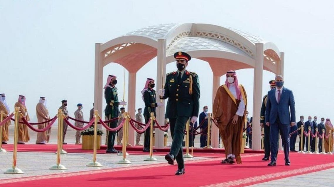 Saudi Crown Prince Mohammed bin Salman bin Abdulaziz and Iraq's Prime Minister Mustafa al-Kadhimi in Riyadh, Saudi Arabia on March 31, 2021. (SPA)