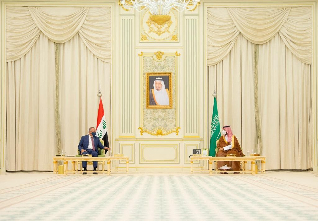 جانب من لقاء الأمير محمد بن سلمان والكاظمي