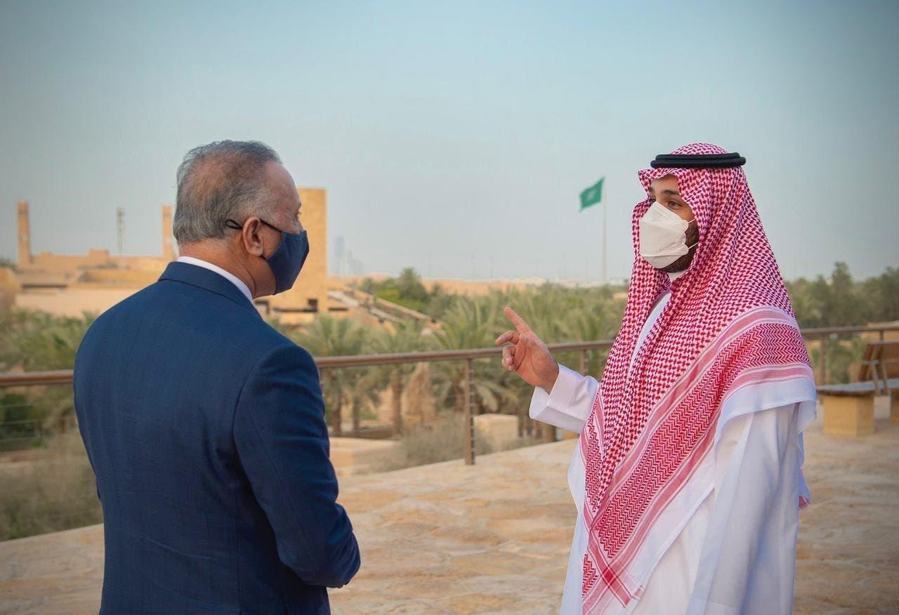 سعودی ولی عہد محمد بن سلمان عراقی وزیراعظم مصطفی الکاظمی کے ہمراہ