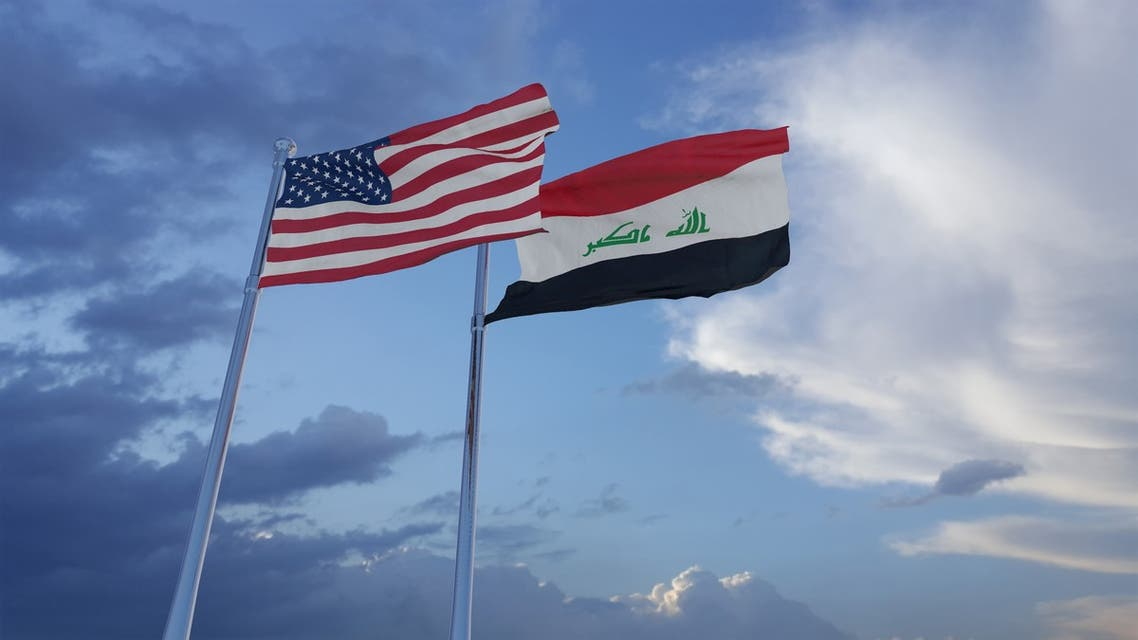 Iraq and United States two flags together realations textile cloth fabric texture stock photo