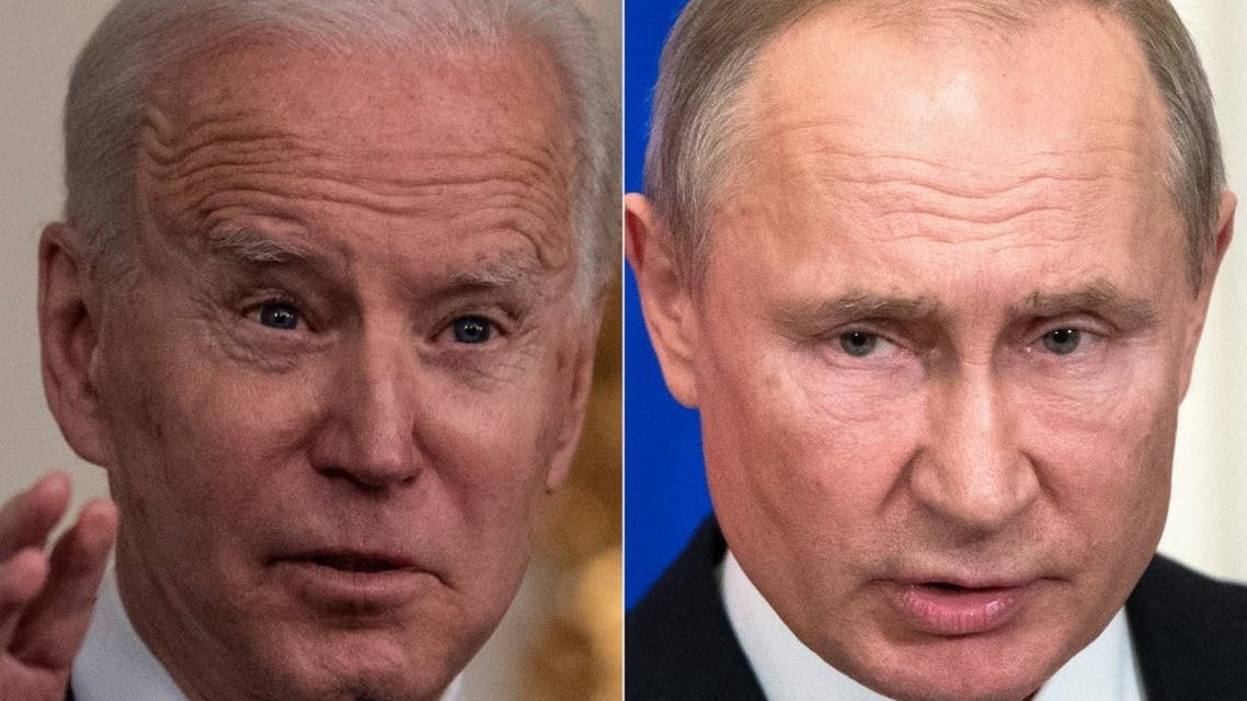 This combination of pictures created on March 17, 2021 shows US President Joe Biden (L) , and Russian President Vladimir Putin (R). (AFP)