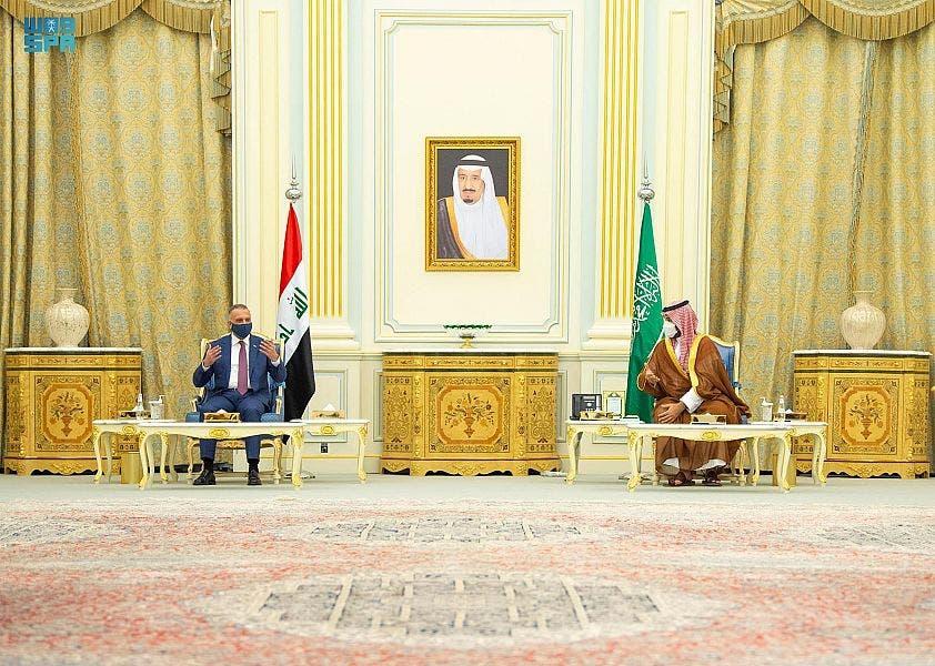 شاهزاده محمد بن سلمان ولیعهد سعودی و مصطفی الکاظمی نخست وزیر عراق
