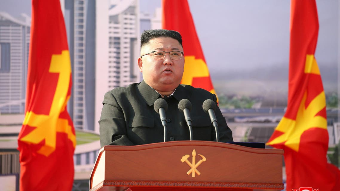 North Korean leader Kim Jong Un attends a ceremony to inaugurate the start of construction on the first phase of a project to eventually build 50,000 new apartments, in Pyongyang, North Korea, in this photo released March 24, 2021 by North Korea's Korean Central News Agency (KCNA). (Reuters)
