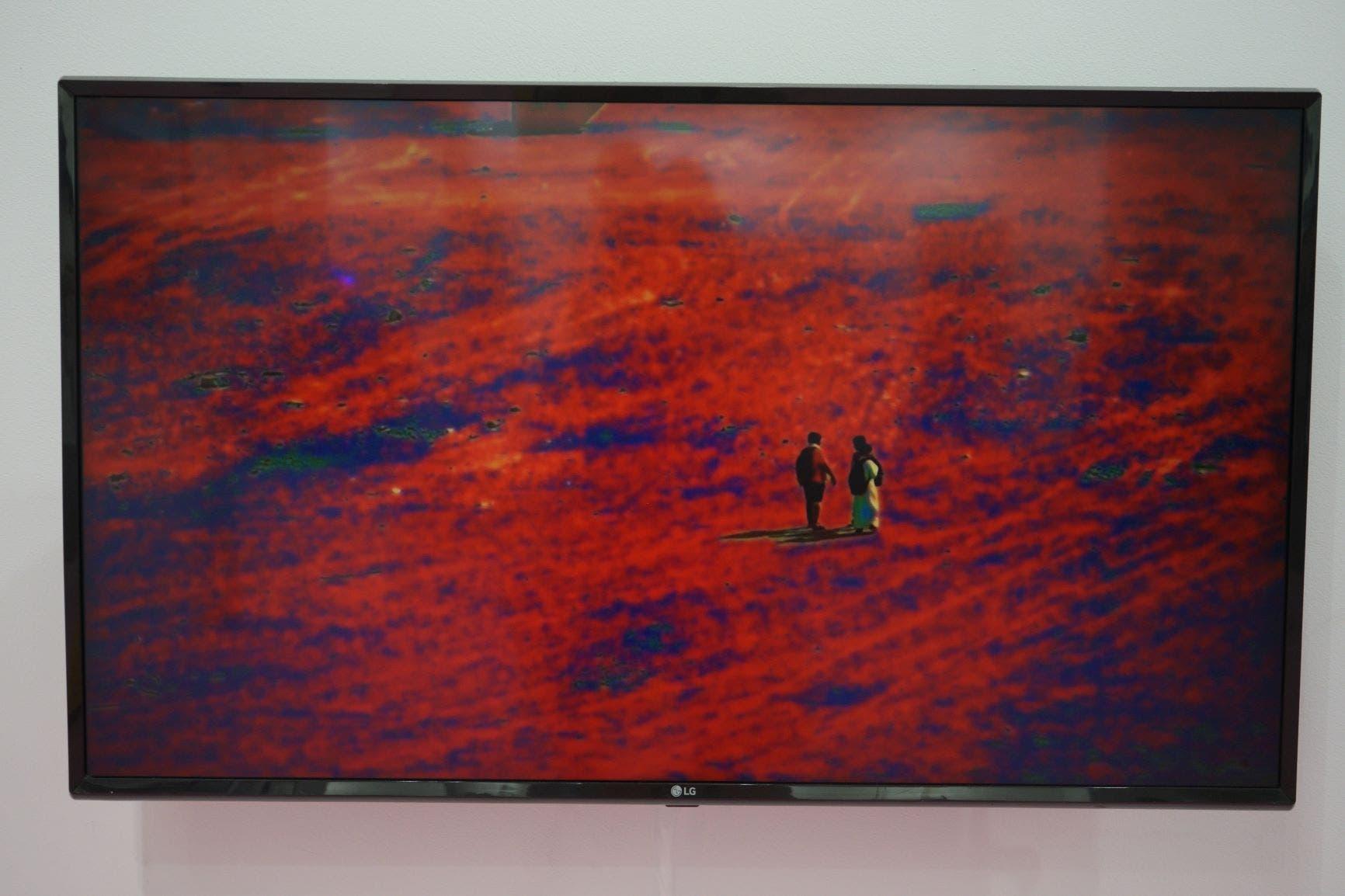 Video installation by Mohammad al-Faraj displayed at the Athr Gallery booth at Art Dubai 2021 in DIFC. (Al Arabiya English)