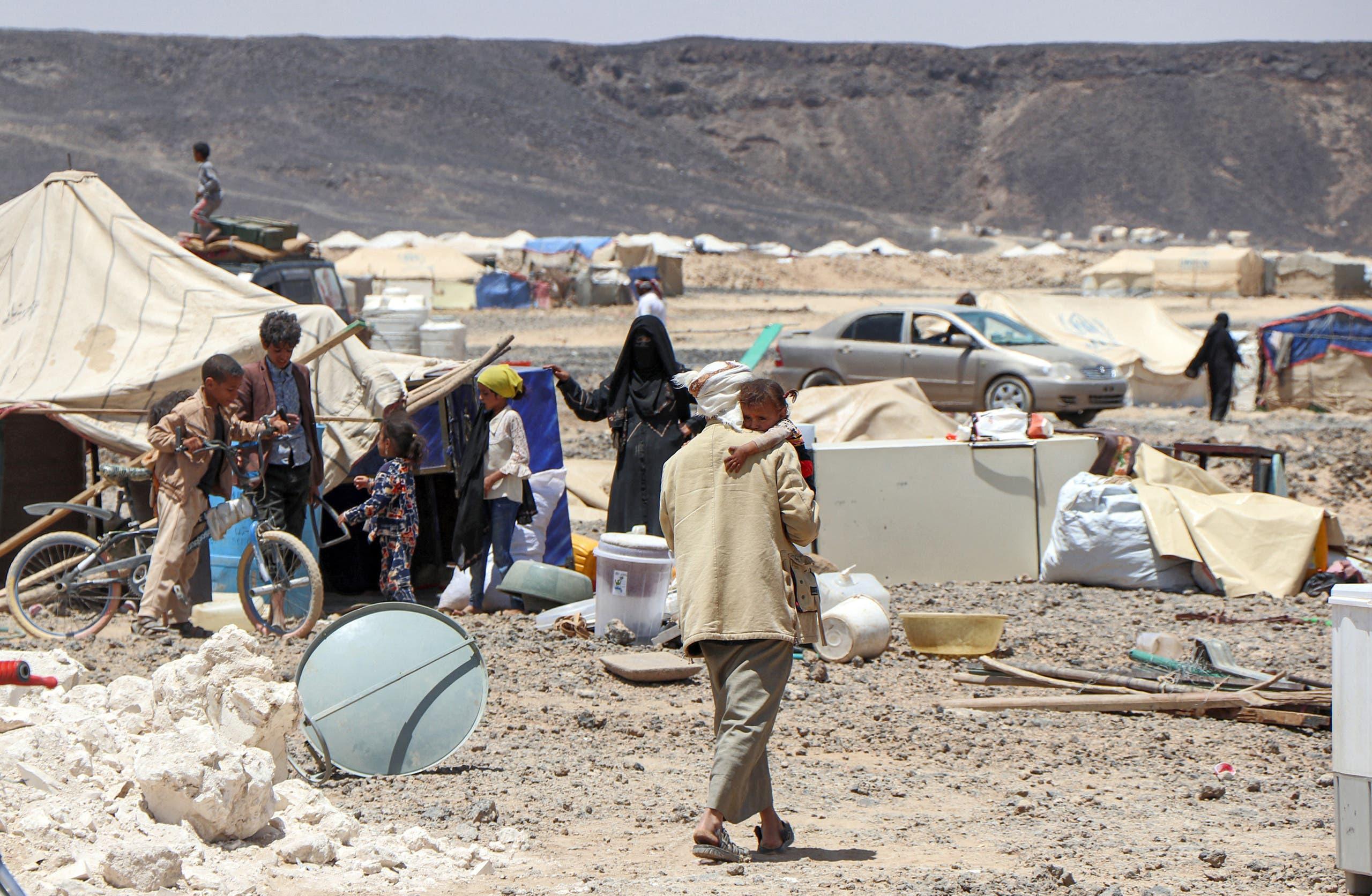 من مخيم للنازحين في مأرب يوم 28 مارس 2021 (فرانس برس)