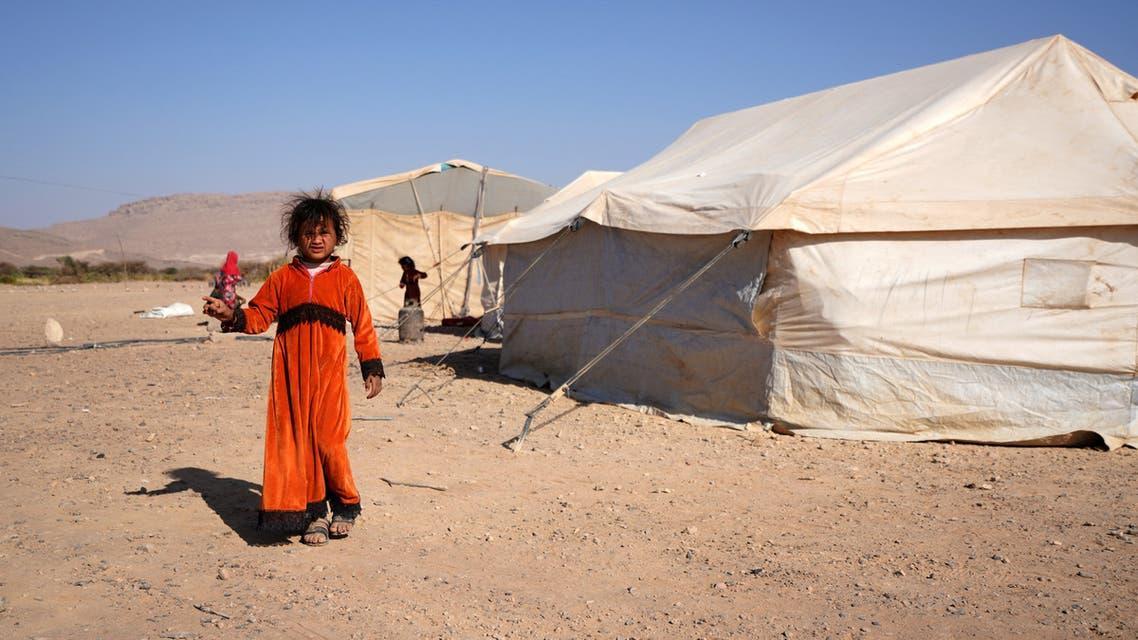 من مخيم للنازحين في ضواحي مدينة مأرب يوم 18 فبراير 2021 (فرانس برس)