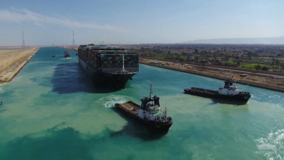AERIALS of the giant container vessel Ever Given in Egypt's Suez Canal