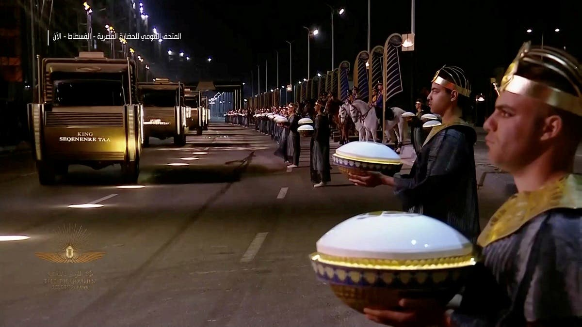 A screen grab shows a general view as a convoy arrives during a ceremony of a transfer of Royal mummies from the Egyptian Museum in Tahrir to the National Museum of Egyptian Civilization in Fustat, in Cairo, Egypt April 3, 2021. (Host Broadcaster/Reuters TV via Reuters)