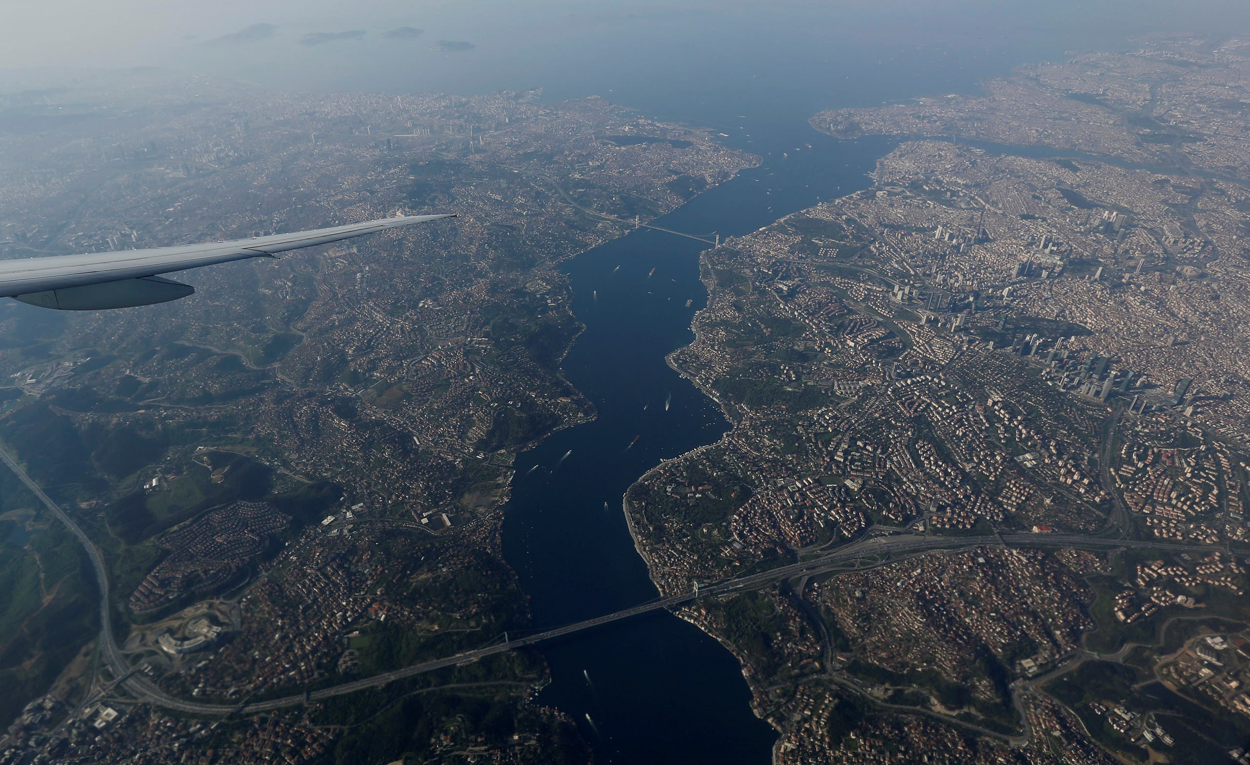 The Bosphorus strait is pictured through the window of a passenger aircraft over Istanbul, Turkey April 24, 2018. Picture taken April 24, 2018. (Reuters)