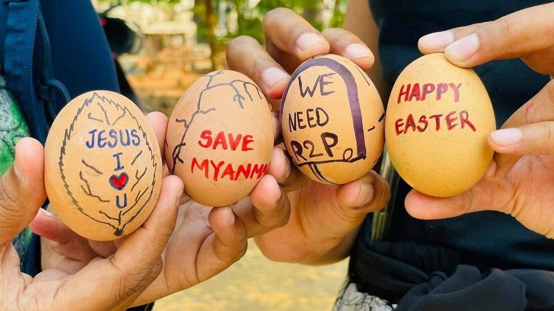 aster eggs are painted with slogans from the protests against the military coup, in Mandalay, Myanmar April 3, 2021 in this picture obtained by Reuters from social media. (Reuters)