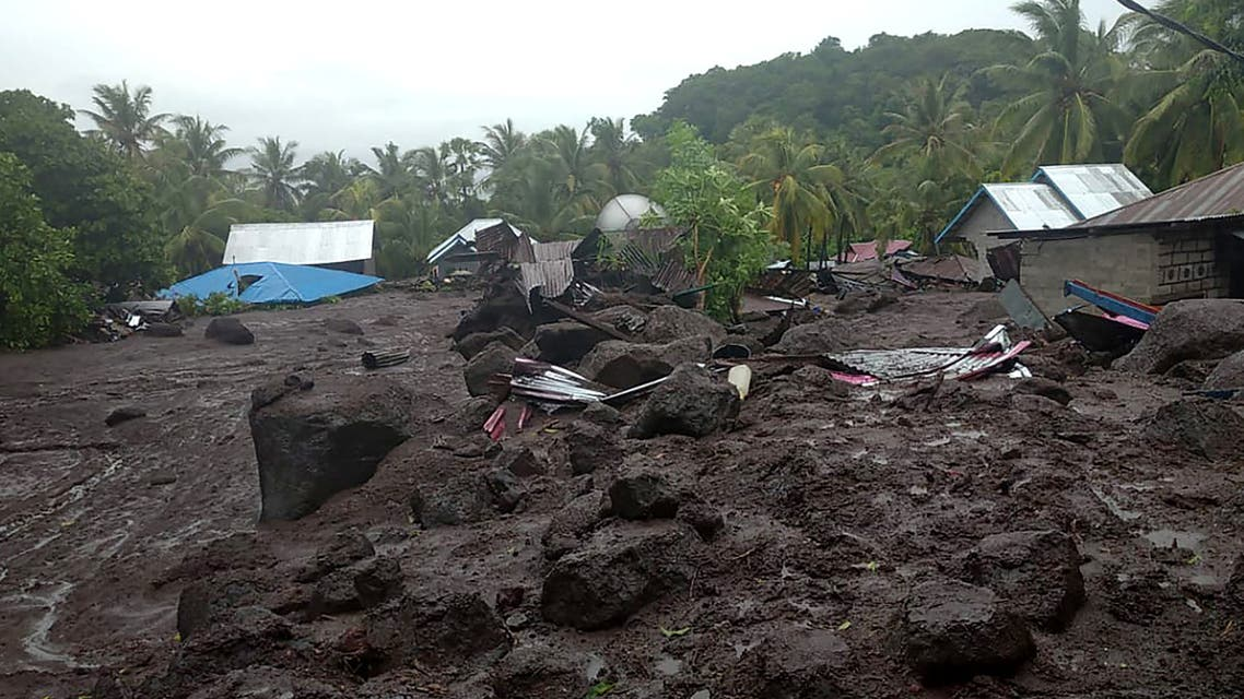 The aftermath of a flash flood in the village of Lamanele on East Flores, where at least 23 people were killed and two missing after early morning flash floods. (AFP)
