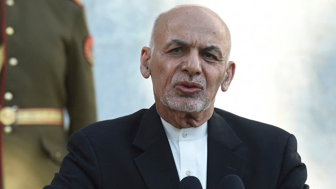 Afghan President Ashraf Ghani speaks during a joint press conference with Pakistan's Prime Minister Imran Khan (not pictured) at the Presidential Palace in Kabul on November 19, 2020.
