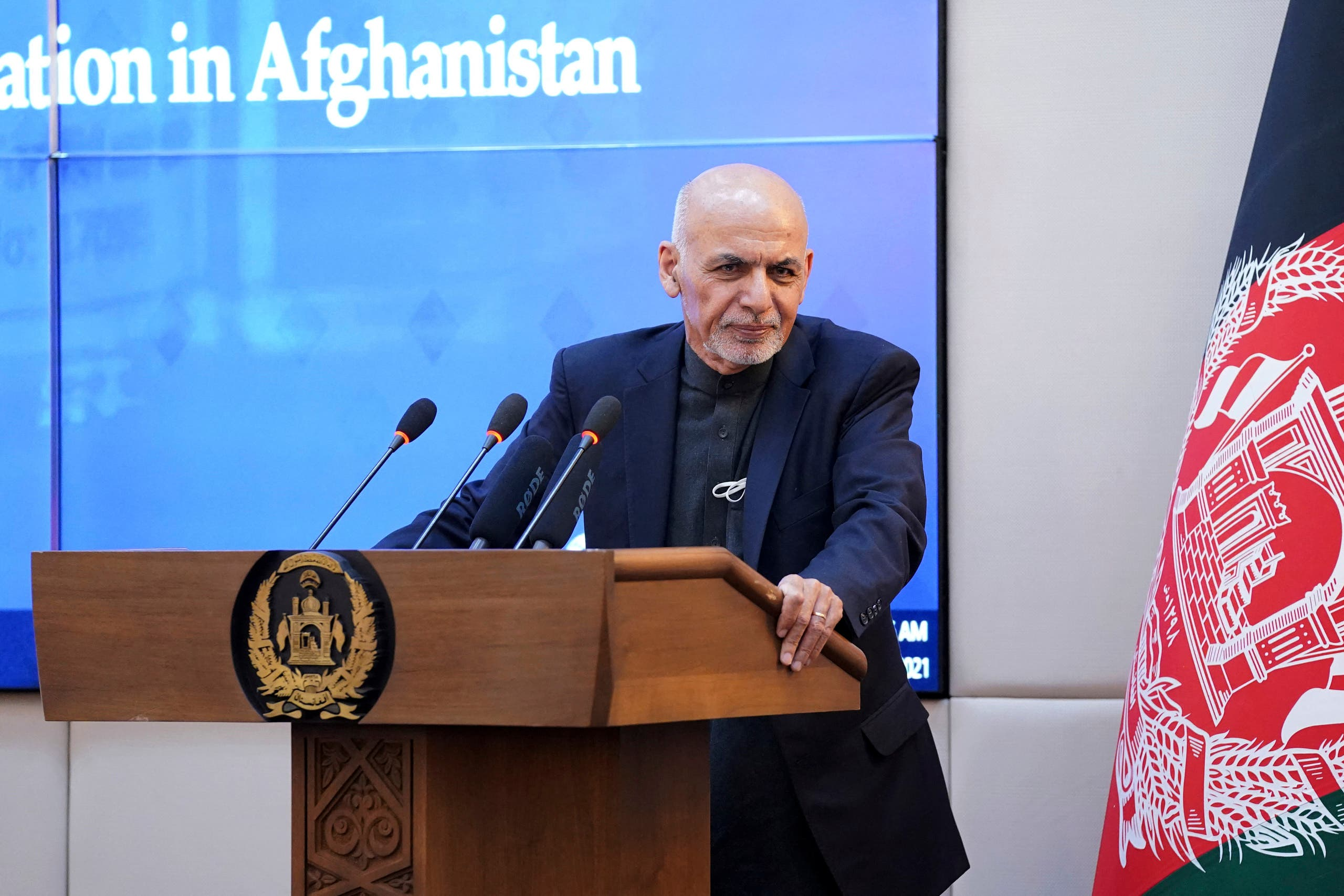 Afghan President Ashraf Ghani speaking during a ceremony at the Presidential Palace in Kabul, as Afghanistan launched a Covid-19 vaccination campaign. (File photo)