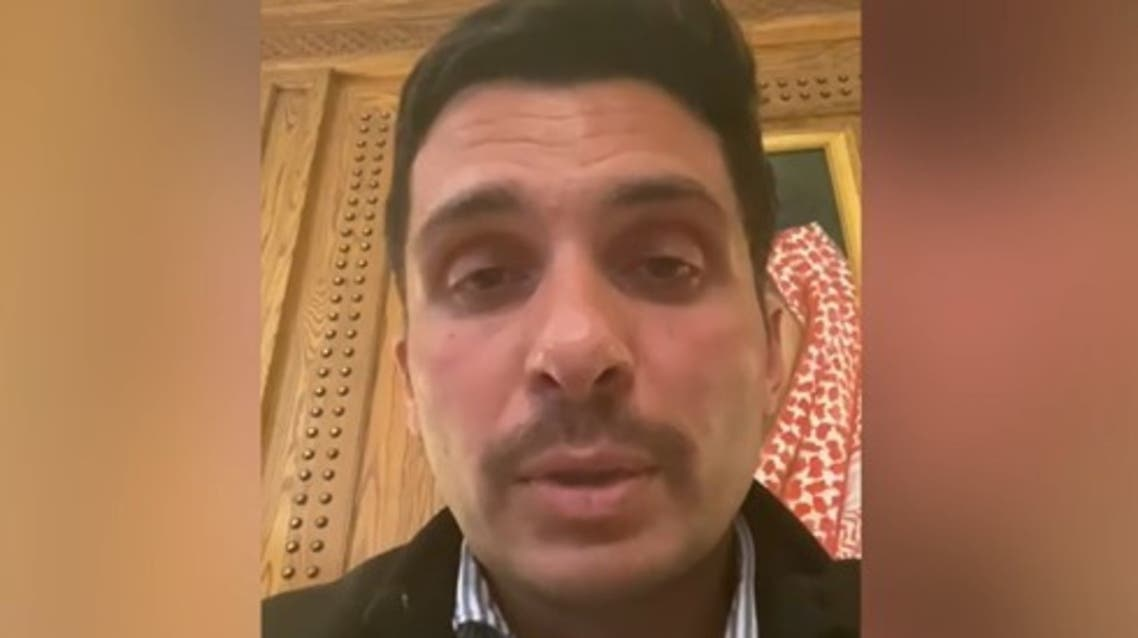 Jordanian King Abdullah's half-brother and former Crown Prince Hamza bin Hussein in a video statement. (BBC)