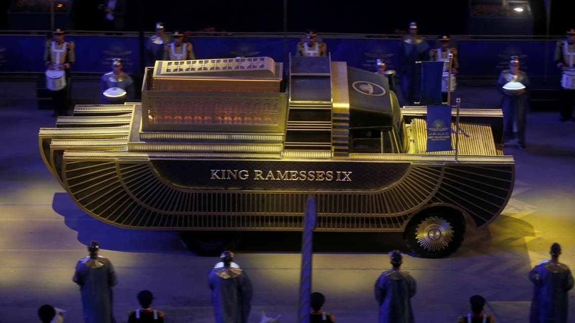 The mummy of King Ramesses IX is transported in a convoy from the Egyptian Museum in Tahrir to the National Museum of Egyptian Civilization in Fustat, in Cairo, Egypt April 3, 2021. (Reuters/Amr Abdallah Dalsh)