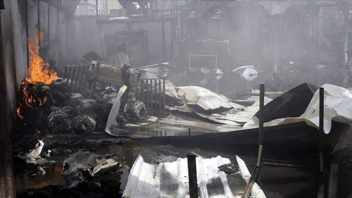 آتش سوزی در کمپ پناهندگان در یمن