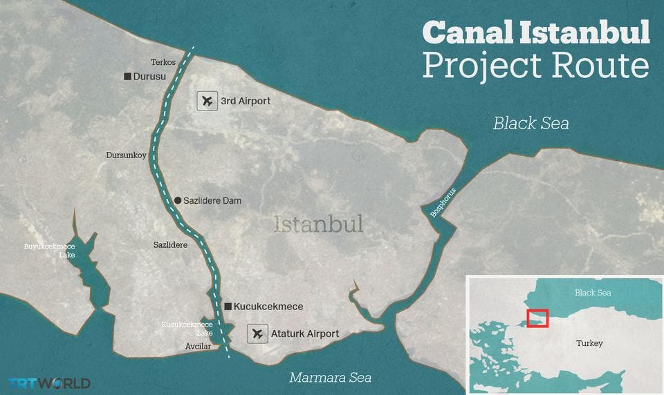 رسم توضيحي يظهر مشروع قناة اسطنبول