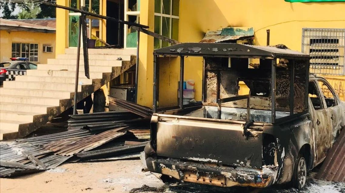 A photograph of the attacked jail in Nigeria's Imo State. (@govofimostate via Twitter)