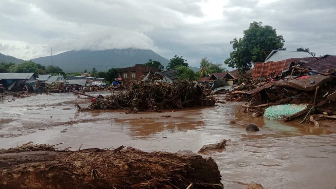 Damaged houses are seen at an area affected by flash floods after heavy rains in East Flores, East Nusa Tenggara province, Indonesia April 4, 2021 in this photo distributed by Antara Foto. (Reuters)
