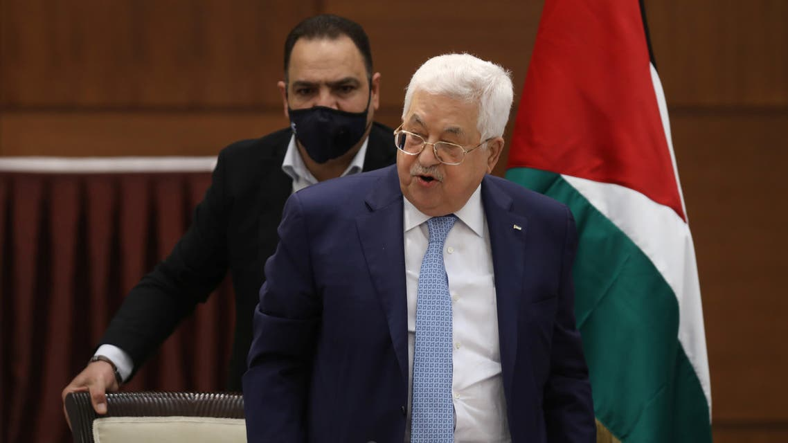 Palestinian President Mahmoud Abbas speaks during a leadership meeting in Ramallah, in the Israeli-occupied West Bank May 19, 2020. Alaa Badarneh/Pool via REUTERS