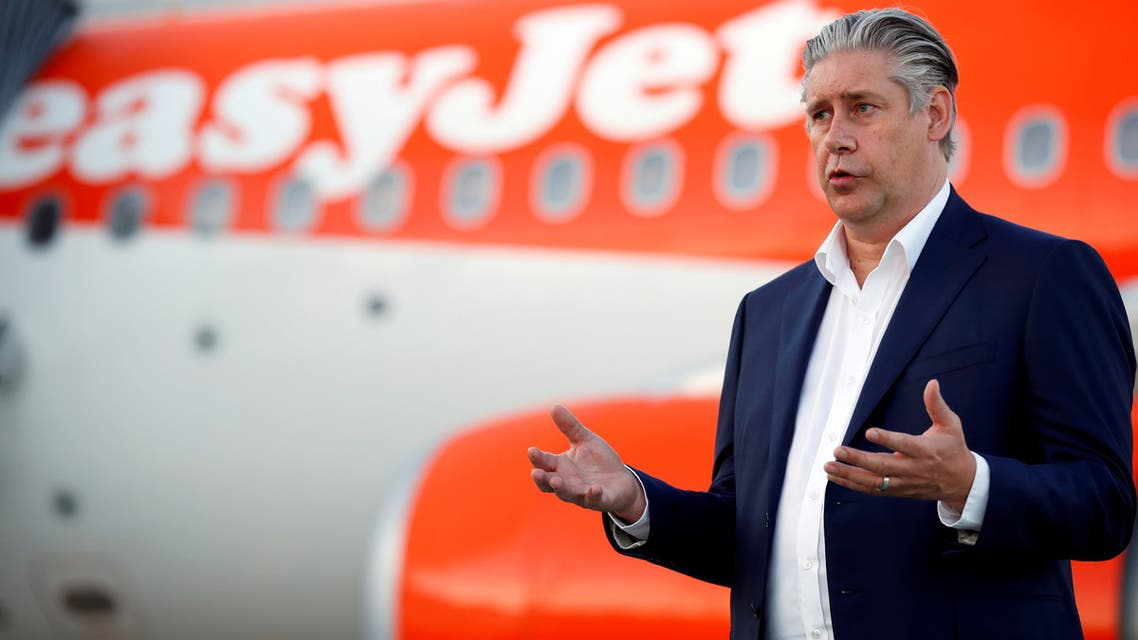 EasyJet CEO Johan Lundgren gestures as he talks to media at Gatwick Airport, Britain, June 15, 2020. (File photo: Reuters)