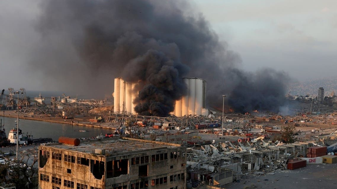 Smoke rises from the site of an explosion in Beirut's port area, Aug. 4, 2020. (Reuters)