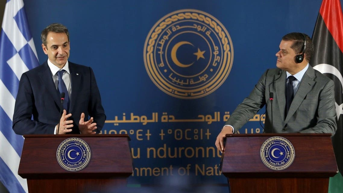 Greek Prime Minister Kyriakos Mitsotakis speaks during a joint news conference with Libyan Prime Minister Abdulhamid Dbeibeh, in Tripoli, Libya April 6, 2021. (Reuters/Hazem Ahmed)