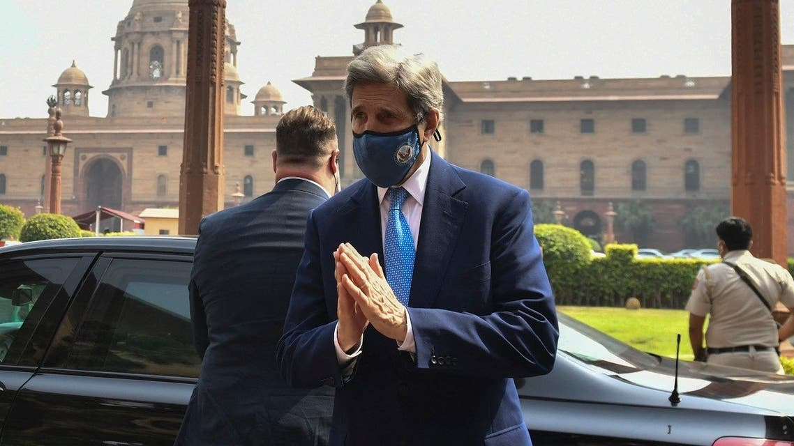 US climate envoy John Kerry gesture as he arrives at the Ministry of Finance for a meeting with Indian Finance Minister Nirmala Sitharaman, in New Delhi on April 6, 2021.(AFP)