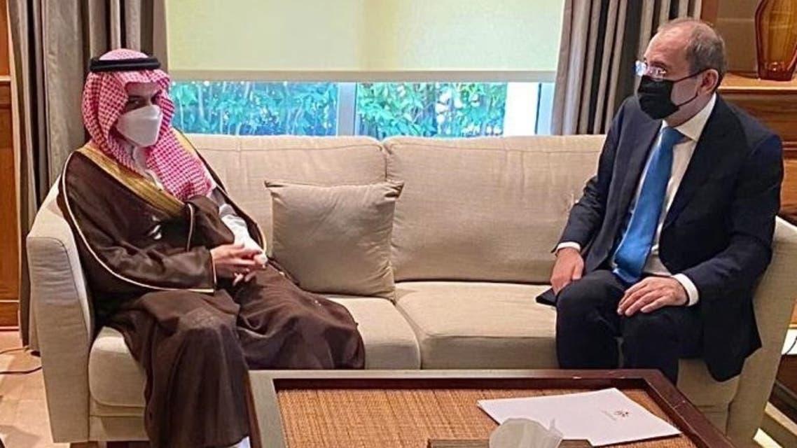 Saudi Arabia's Foreign Minister Prince Faisal bin Farhan (left) in a meeting with his Jordanian counterpart Ayman Safadi in Amman. (Twitter)