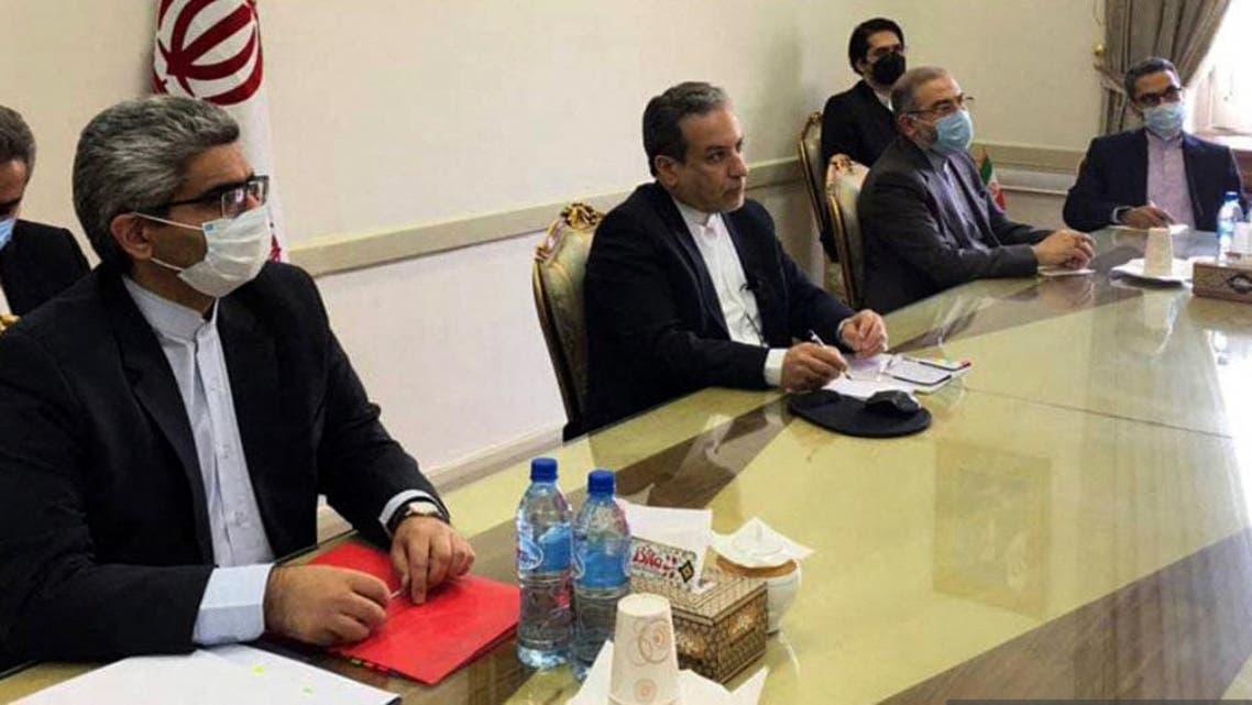 الوفد الإيراني الذي شارك في الاجتماع الافتراضي في 2 أبريل حول الاتفاق النووي (أرشيفية- فرانس برس)