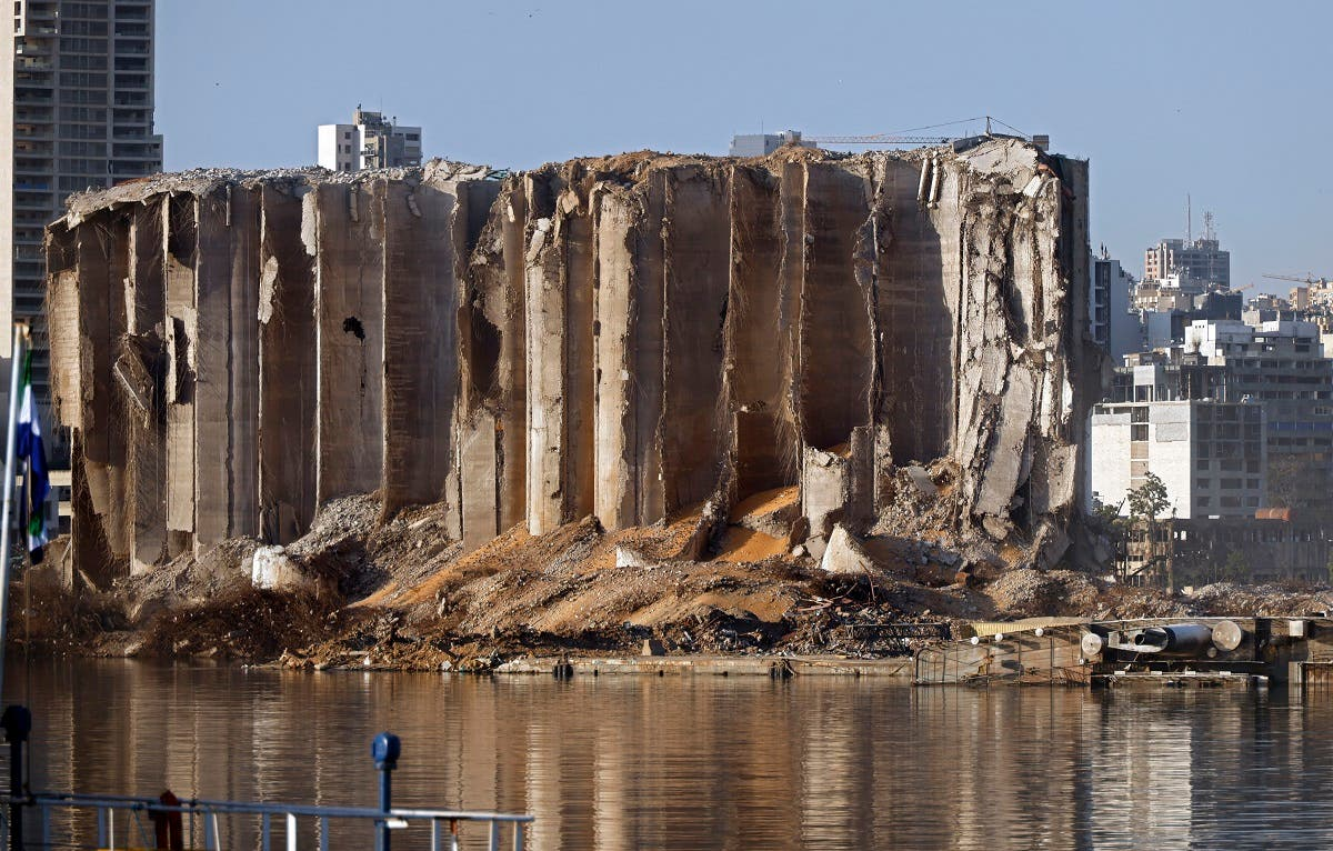 The destroyed silo is pictured on October 26, 2020 at Beirut's port following the August 4 massive chemical explosion. (AFP)
