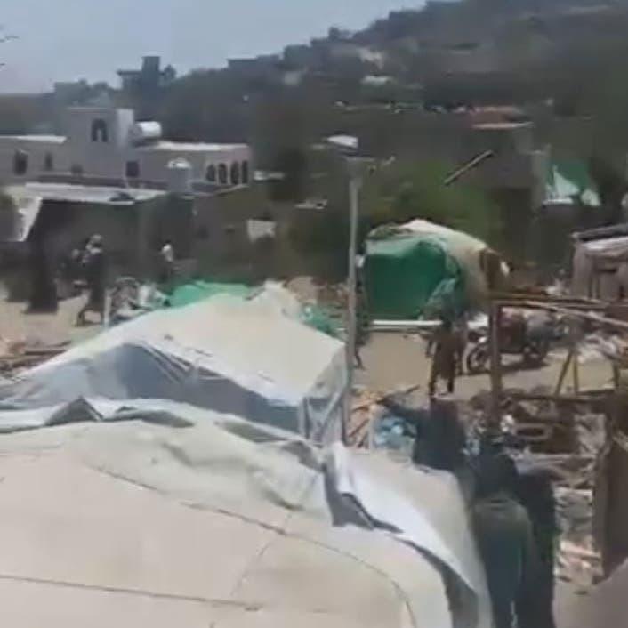 دمروا مخيماً فوق رؤوس ساكنيه..شاهد ما فعله الحوثي في إب