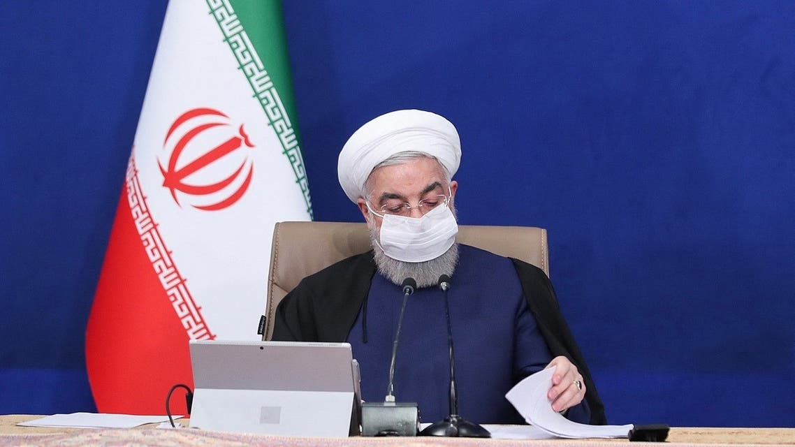 A handout picture provided by the Iranian presidency on April 7, 2021 shows President Hassan Rouhani attending a cabinet meeting in the capital Tehran. (Iranian Presidency/AFP)