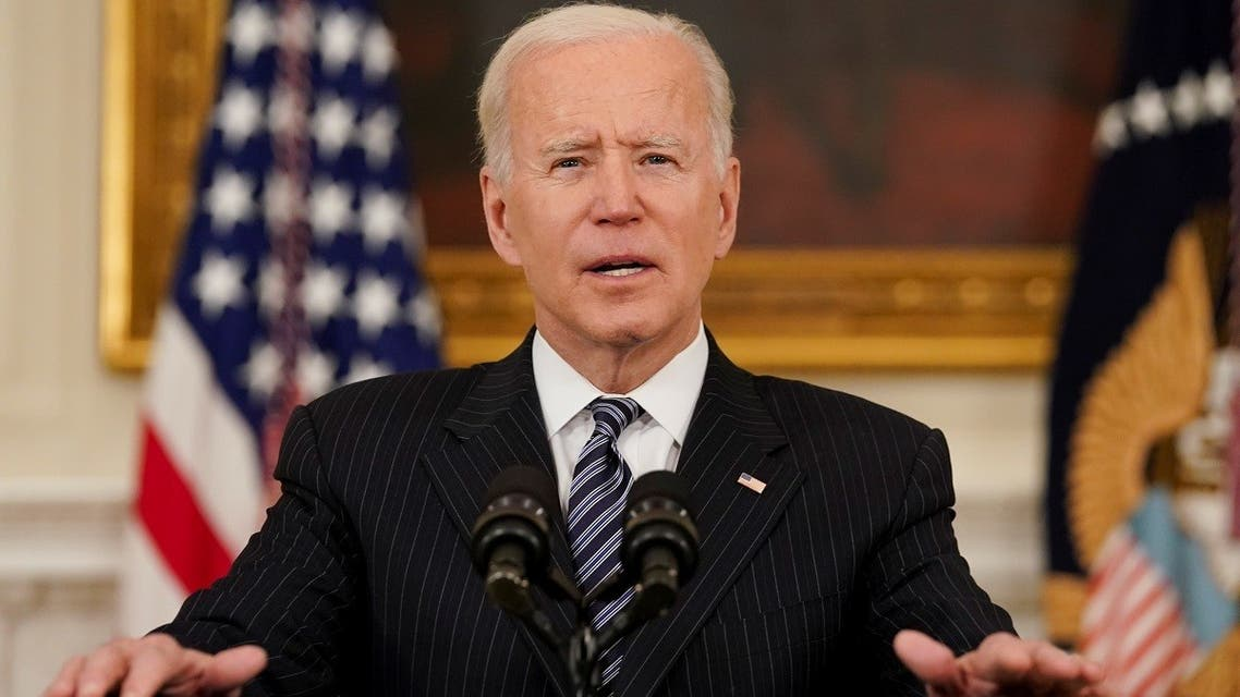 US President Joe Biden speaks from the White House, April 6, 2021. (Reuters)