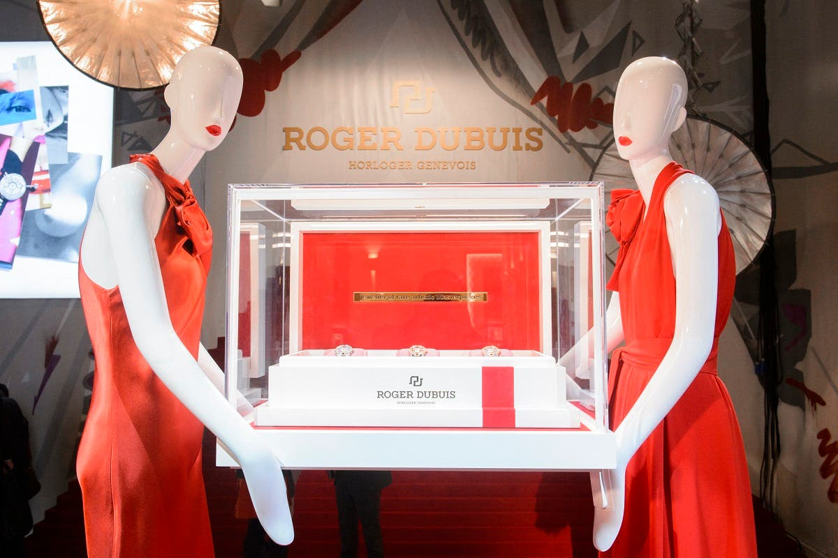 """A picture shows the Roger Dubuis stand during the """"Salon International de la Haute Horlogerie"""" (SIHH), a professional fair in fine watchmaking in Geneva. (File photo: AFP)"""