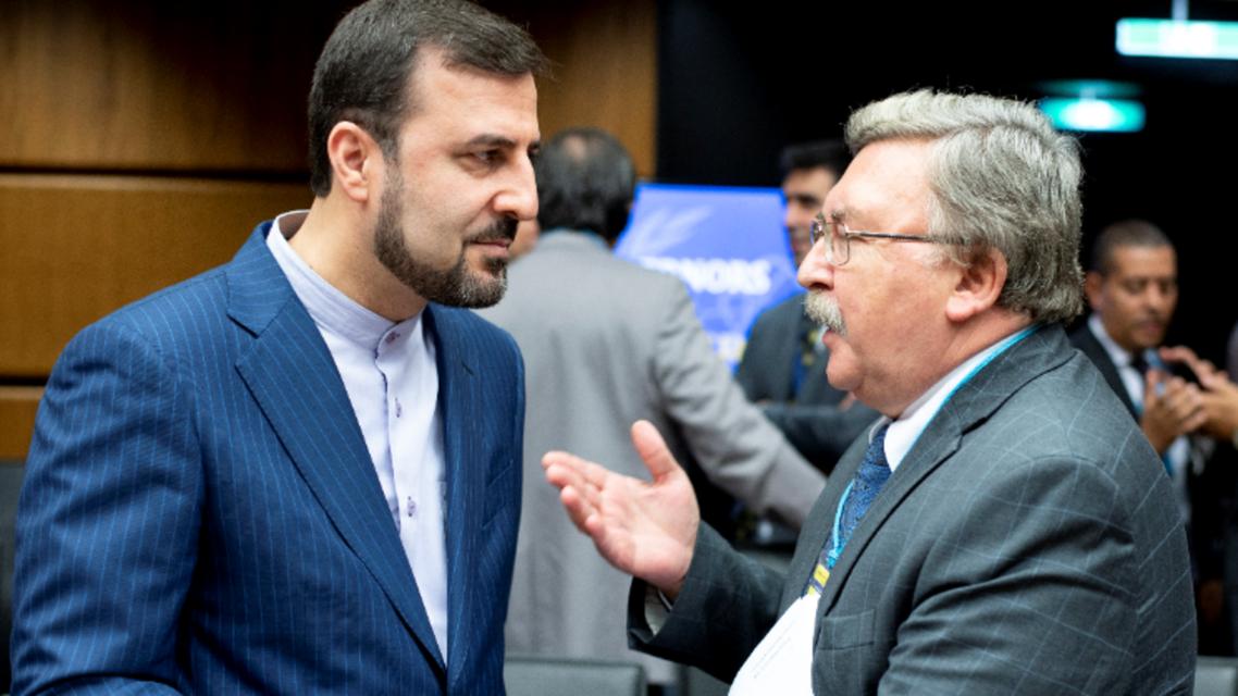 محافظ الوكالة الدولية للطاقة الذرية كاظم غريب عبادي (يسار) يتحدث إلى نظيره الروسي ميخائيل أوليانوف (يمين)