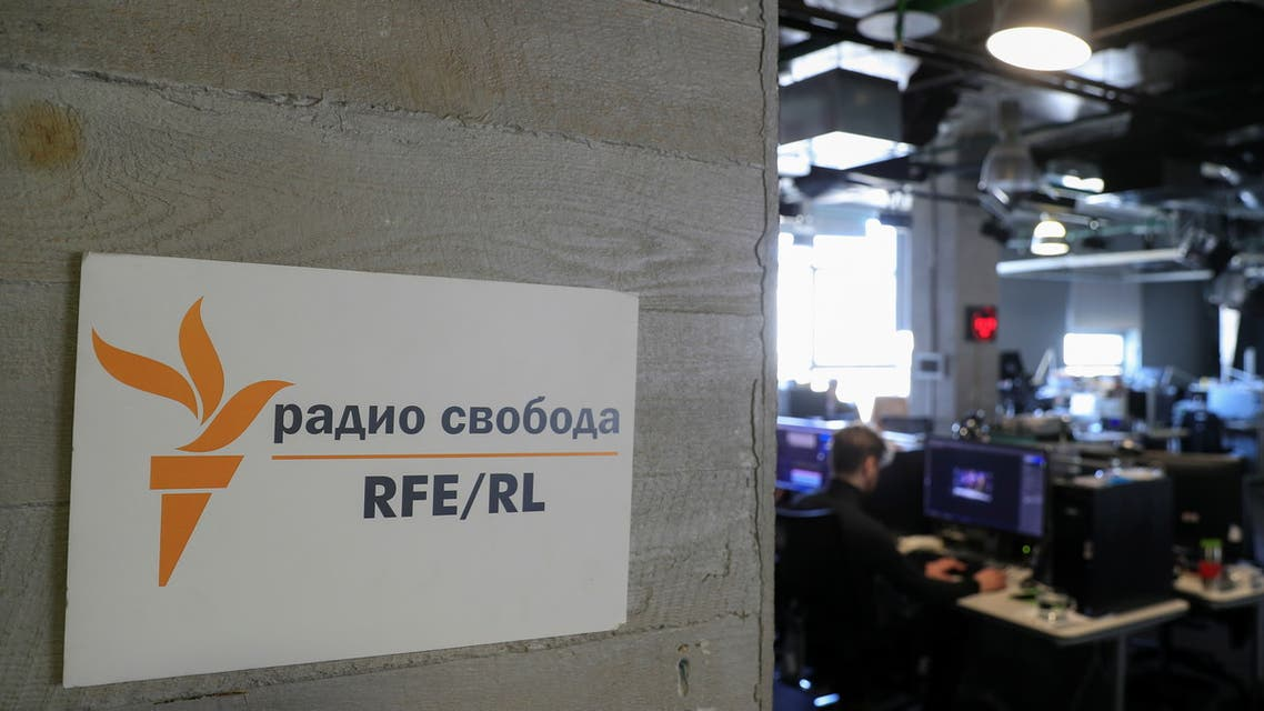 A view shows the newsroom of Radio Free Europe/Radio Liberty (RFE/RL) broadcaster in Moscow, Russia April 6, 2021. Picture taken April 6, 2021. (Reuters)
