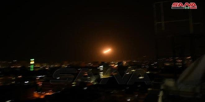 Syria's air defenses intercepted and destroyed rockets launched by Israel from the direction of the Lebanon and the Israeli-occupied Golan Heights towards Damascus. (SANA)
