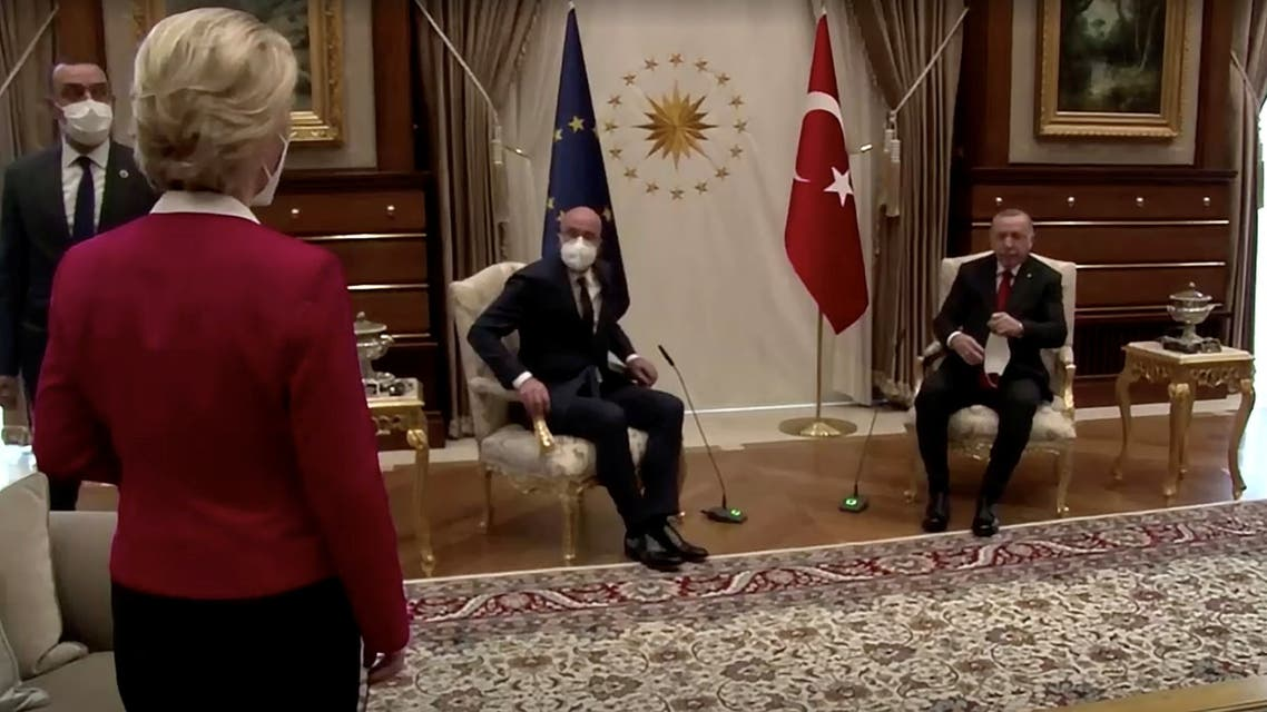 European Commission President Ursula von der Leyen stands as European Council President Charles Michel and Turkish President Tayyip Erdogan take seats in Ankara, Turkey April 6, 2021, in this screengrab obtained by Reuters. European Union/via REUTERS TV ATTENTION EDITORS - THIS PICTURE WAS PROVIDED BY A THIRD PARTY. MANDATORY CREDIT. NO RESALES. NO ARCHIVE.