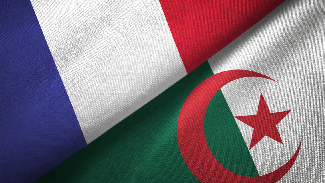 Algeria and France two flags together realations textile cloth fabric texture stock photo