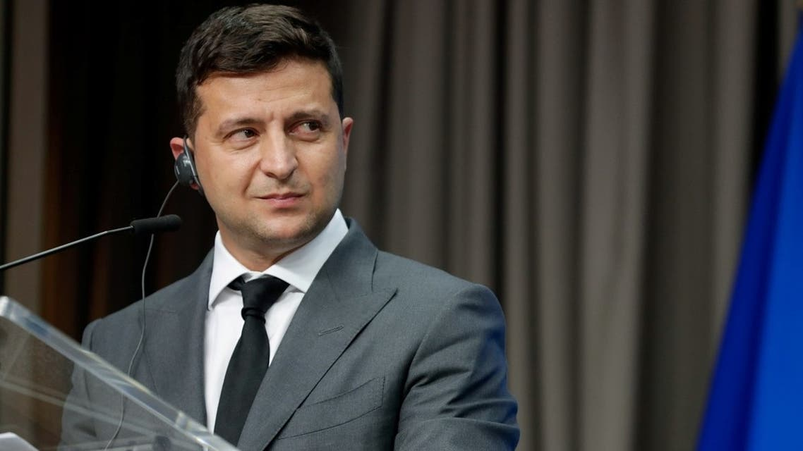 Ukrainian President Volodymyr Zelensky gives a press conference at the end of an EU-Ukraine Summit at the European Council in Brussels, Belgium, on October 6, 2020. (Reuters)