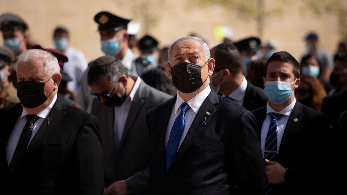 Israeli PM Benjamin Netanyahu at Yad Vashem memorial in Jerusalem, April 8, 2021. (Reuters)