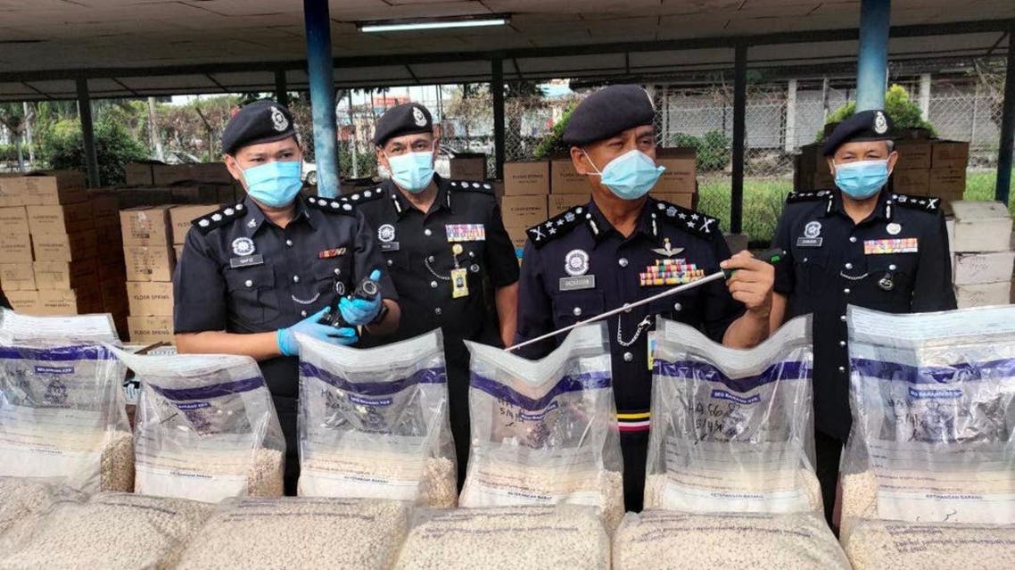 Malaysian authorities seized 3,862,216 amphetamine pills,which were hidden inside a shipment of aluminum floor bases for doors, in cooperation with Saudi Arabia's General Directorate of Narcotics Control. (Supplied)