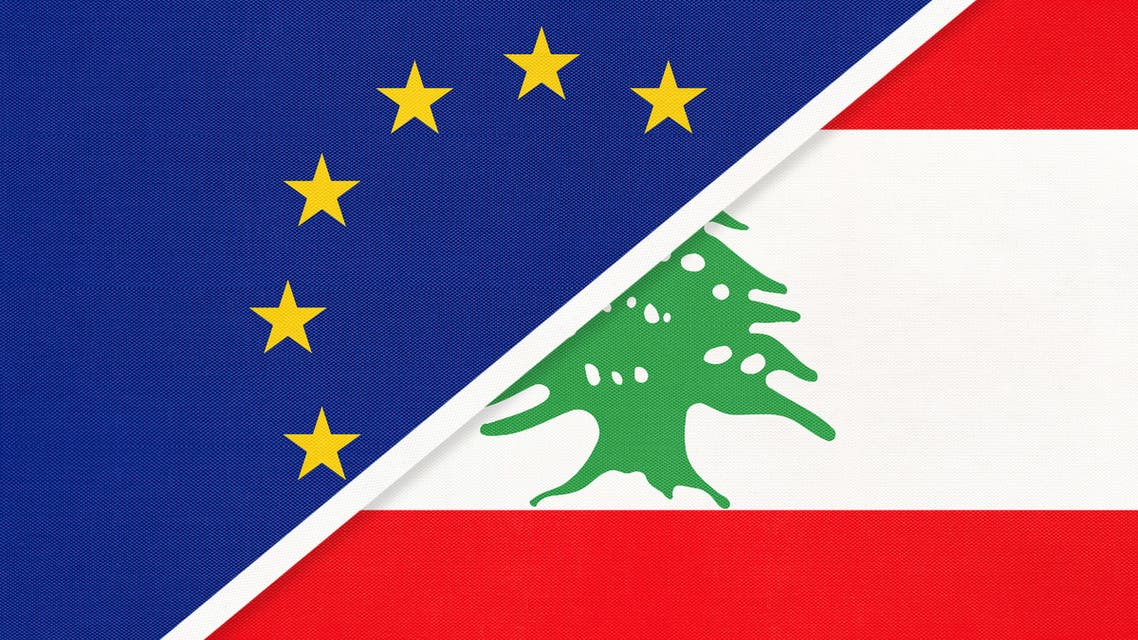European Union or EU and Lebanon national flag from textile. Symbol of the Council of Europe association. stock illustration