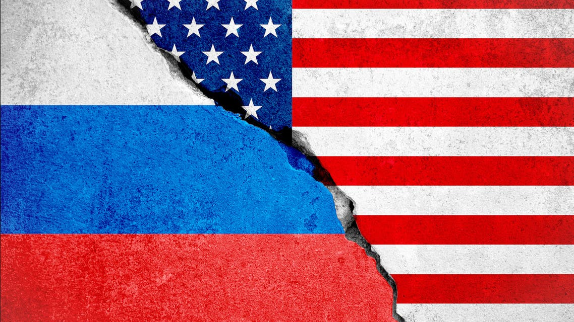 United states of america flag on wall and russian flag stock photo