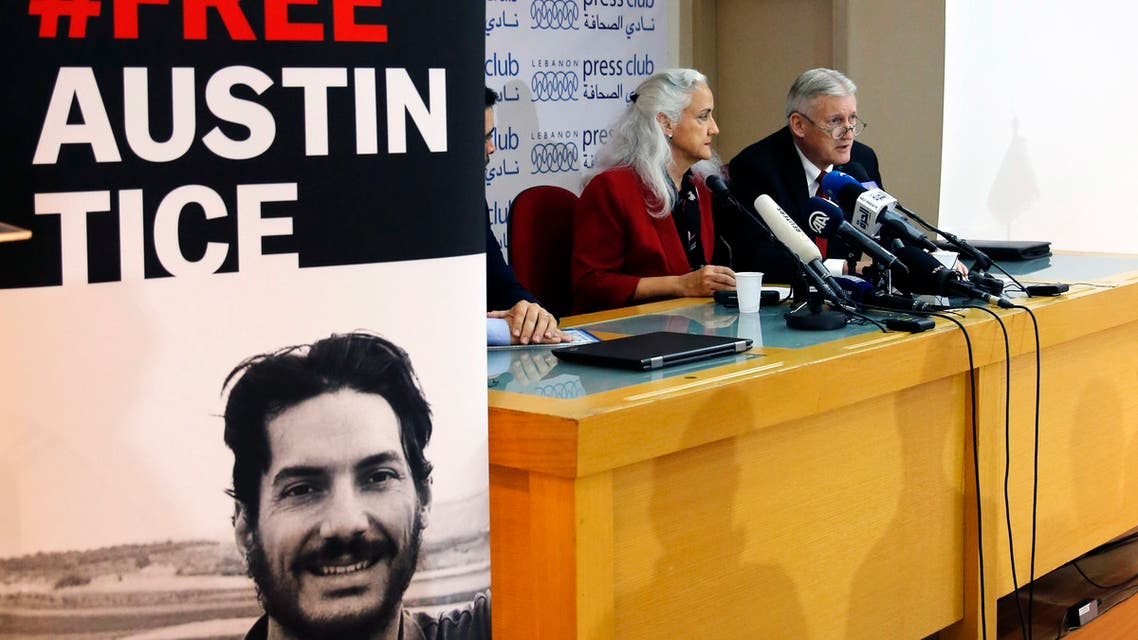 The parents of Austin Tice at a press conference in Beirut, Lebanon, Dec. 4, 2018. (AP)