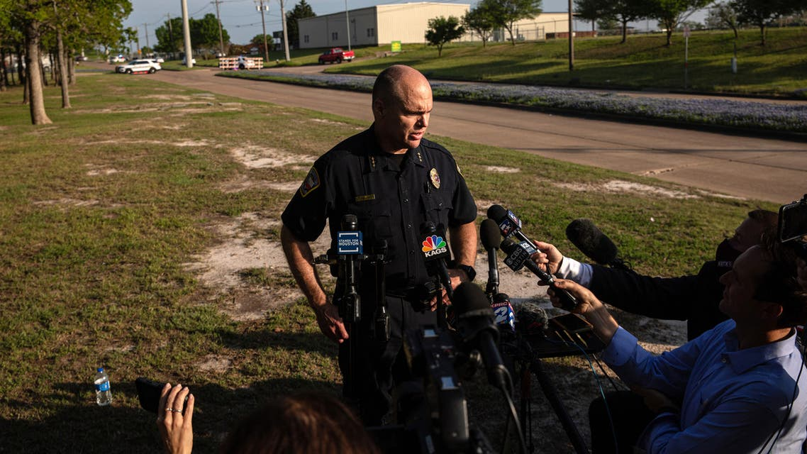Bryan Police Chief Eric Buske speaks to members of the media near the scene of a shooting at Kent Moore Cabinets on April 8, 2021 in Bryan, Texas. (File photo: AFP)