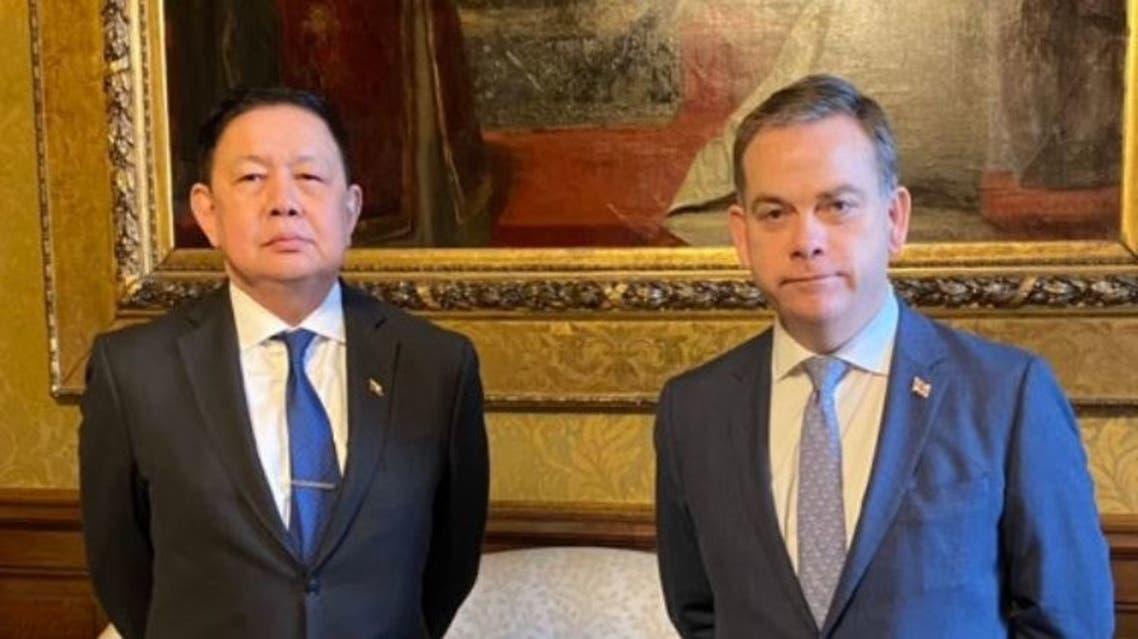 Myanmar's ambassador to London Kyaw Zwar Minn met on Thursday with Nigel Adams, Britain's Foreign Office minister for Asia. (Twitter)