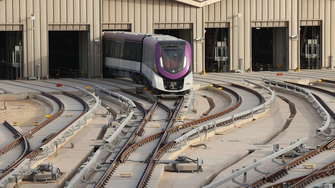 A metro line leaves on a test drive to the King Abdullah Financial District station during an exclusive tour of the Riyadh Metro on April 1, 2021 in the Saudi capital. (AFP)